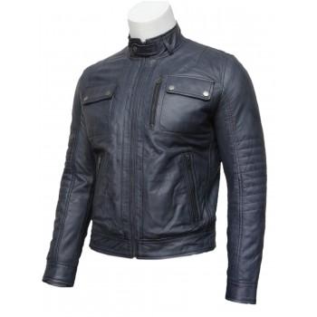 Mens Navy Blue Classic Leather Biker Bomber Jacket-Pedro