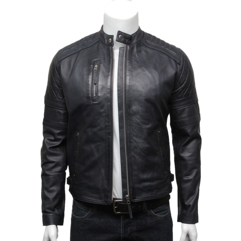 Mens Classic Navy Blue Leather Biker Bomber Jacket-Riley - Brandslock