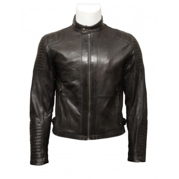Mens Black Leather Biker Bomber Jacket -Jaxon