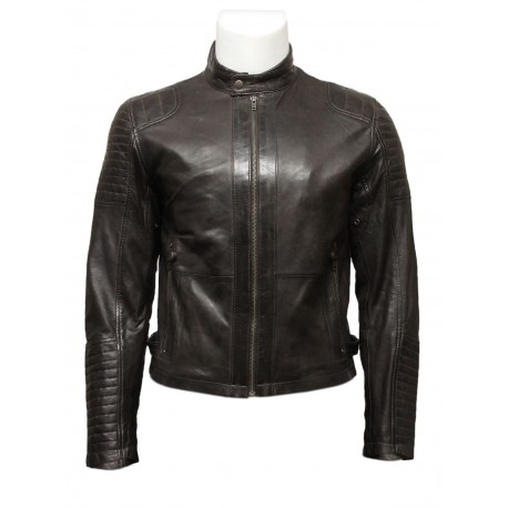Mens Black Leather Biker Bomber Jacket -Jaxon - Brandslock