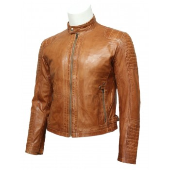 Mens Tan Leather Biker Bomber Jacket -Jaxon