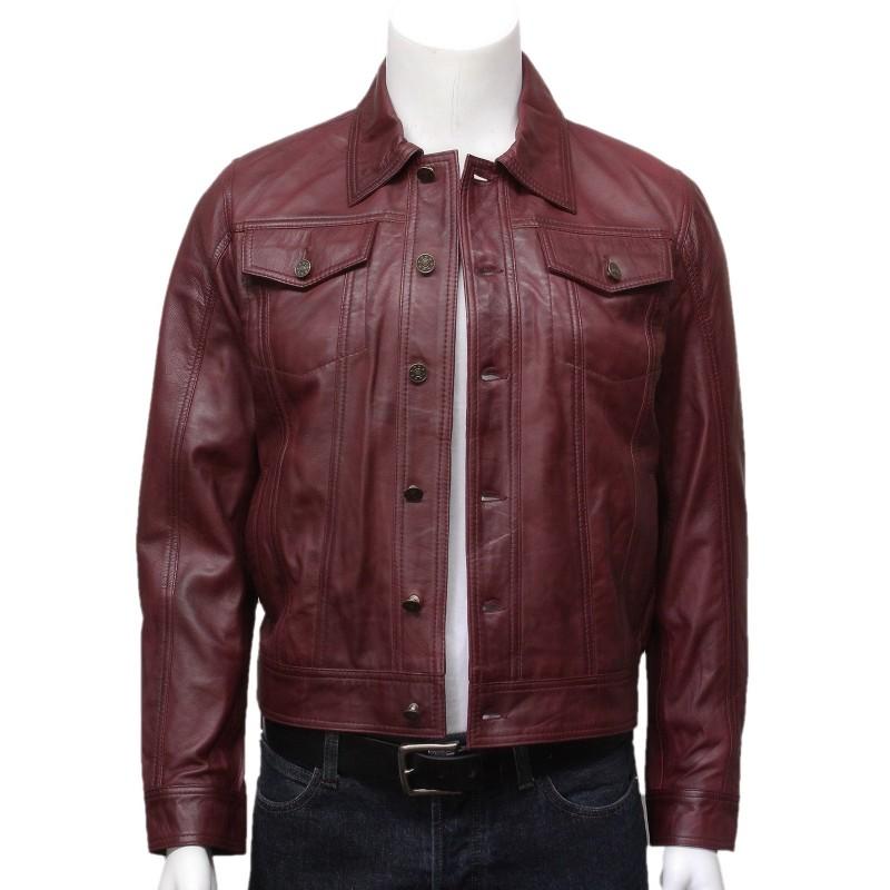 Burgundy leather jacket for men