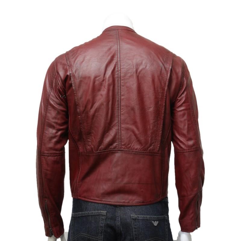 Mens classic burgundy leather stylish biker jacket colby