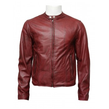 Mens Classic Burgundy Leather Stylish Biker jacket-Colby