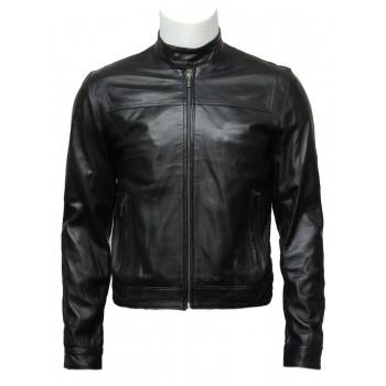 Mens Black Leather Biker Jacket -Brock