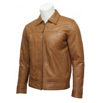 Mens Classic Leather Biker Jacket Harrington Tan-Gael