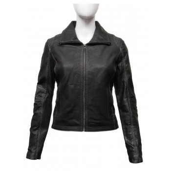 Women's Stylish Black Real Leather Biker Jacket -Lena