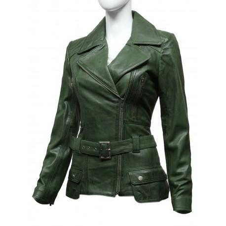 Ladies Women Stylish Olive Leather Biker Jacket-Kate