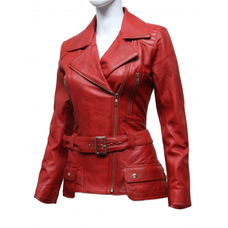 Ladies Women Stylish Red Leather Biker Jacket-Kate