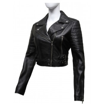 Ladies Black Puffed Leather Biker Jacket-Tereza