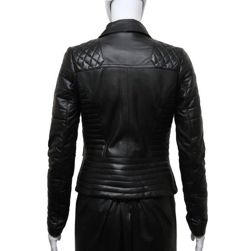 Ladies Black Biker Diamond Quilted Leather Jacket -Reka - Brandslock