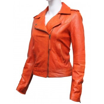 Women Orange Leather Biker Jacket -Haven