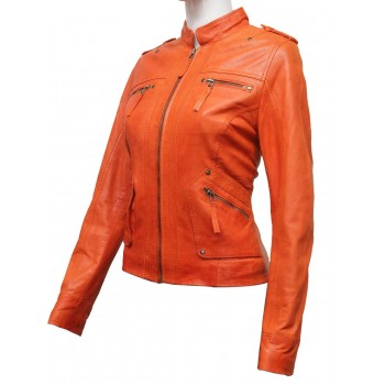 Women Orange Leather Biker Jacket - Malibu