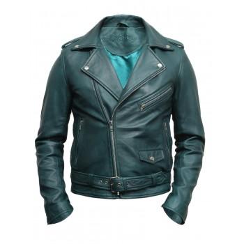 Mens Stylish Zipped Pocket Leather Biker Jacket Teal- Maxim