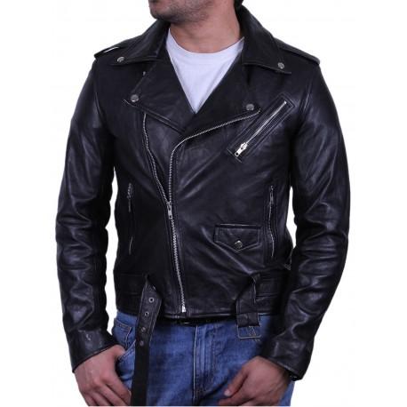 Black zip pocket biker jacket