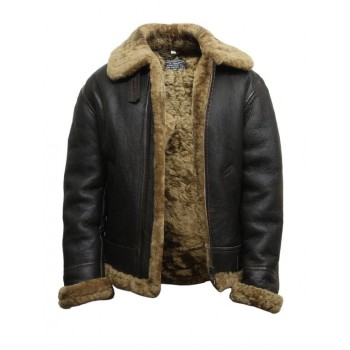 Men's Real Shearling Sheepskin Leather Flying Jacket Aviator ...