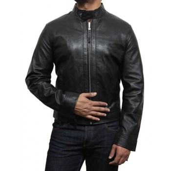 Men's Classic Leather Biker Jacket Retro -Gavin