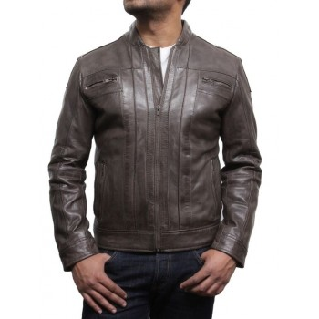 Men's Brown Leather Biker Jacket Iconic Style- Bryan