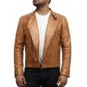 Men's Classic Tan Leather Biker Stylish Jacket-Joel