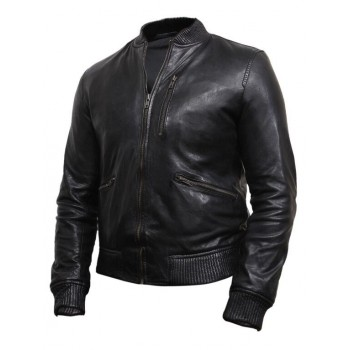 Men's Black Leather Biker Jacket -Jace