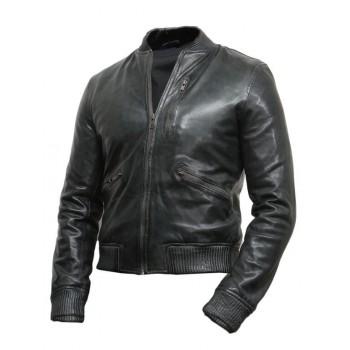 Men's GreyLeather Biker Jacket -Jace