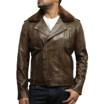 Men's Brown Leather Biker Jacket With Detachable Merino Fur Collar-Zane
