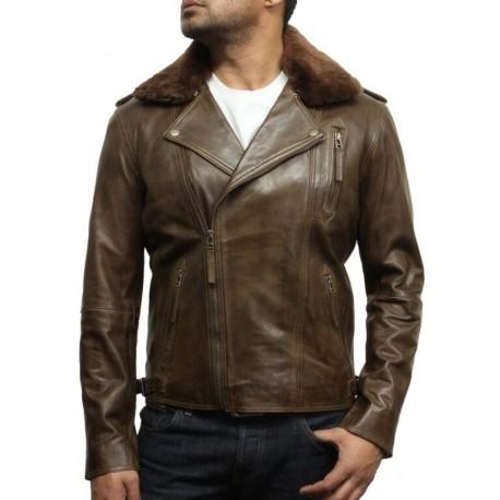 Men's Brown Leather Biker Jacket With Detachable Merino Fur Collar-Zane