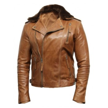 Men's Tan Leather Biker Jacket With Detachable Merino Fur Collar-Zane