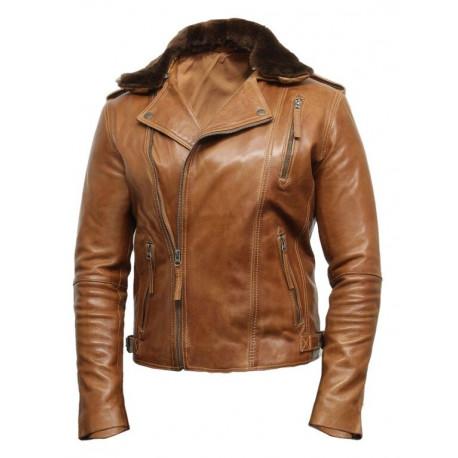 Men's Tan Leather Biker Jacket With Detachable Merino Fur Collar-Zane