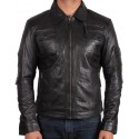 Men's Black Leather Jacket - Hazard