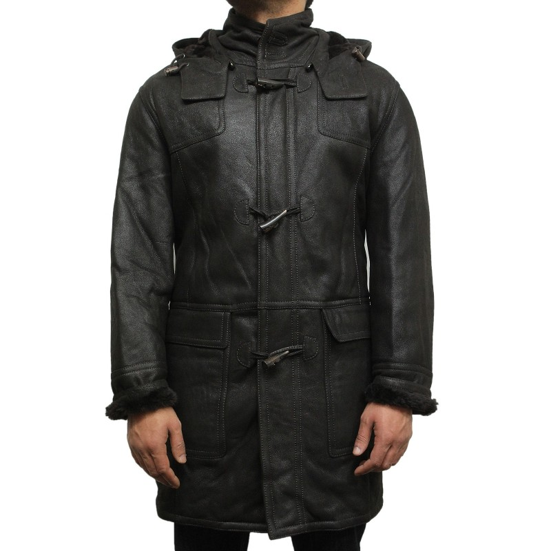 Men's Real Shearling Sheepskin Leather Flying Jacket Aviator ...