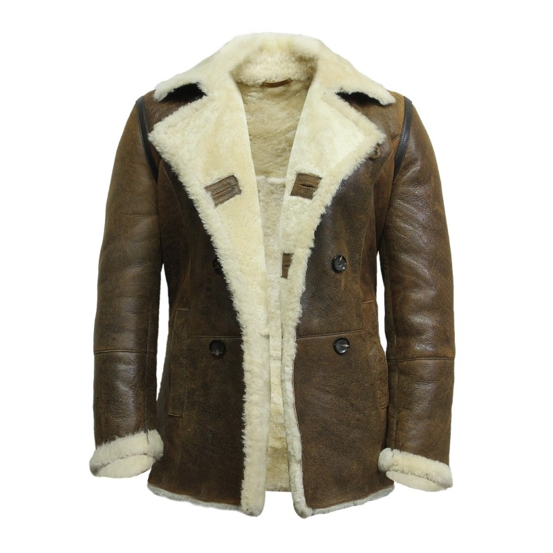 Men's shearling sheepskin jacket Vintage Brown - Rambo - Brandslock