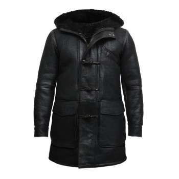 Men's Hooded Luxury Sheepskin Pea Coat German Navy Long Duffle Coat -Birk