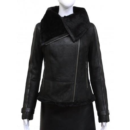 Ladies Women Short Fitted Black Biker Style Real Shearling Sheepskin-Gisa