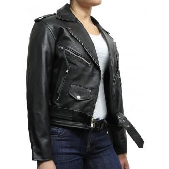 Women's Black Leather Biker Jacket BNWT-Liza