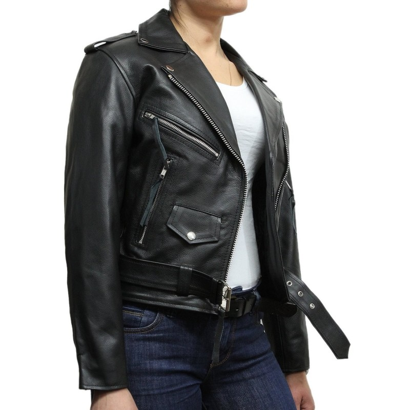Women's Black Leather Biker Jacket BNWT-Liza - Brandslock