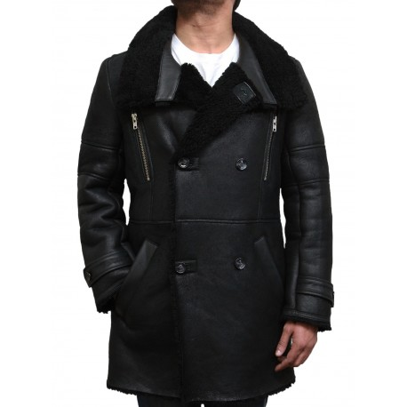 Men's Luxury Sheepskin Long Duffle Coat-Valentine