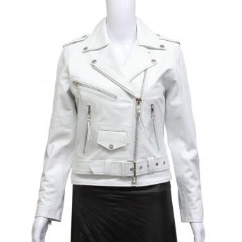 Women's White Leather Biker Jacket BNWT-Liza