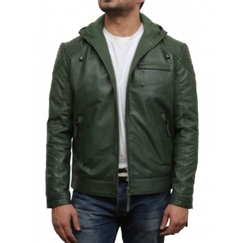 Men's Olive Green Leather Bomber Jacket - Majento
