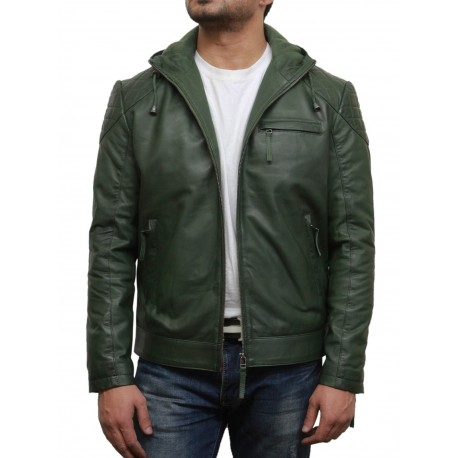 Olive green leather coat
