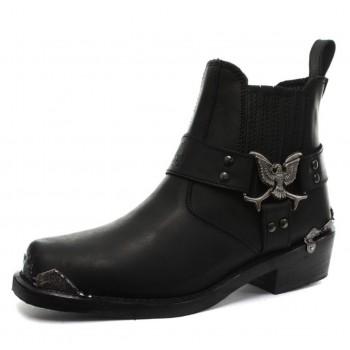 Grinders Mens Classic Cowboy Biker Real Leather Designer Look Boots - Eagle Lo