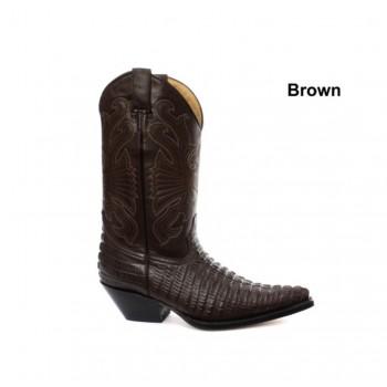 Grinders Classic Mens Real Croc Leather Skin Designer Look Cowboy Derby Western Boots Brown - Carolina