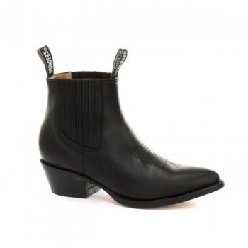 Grinders Vintage Mens Classic 100% Real Leather Cowboy Mid Long Boots Black - Maverick