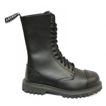 Grinders Vintage Mens Womens Unisex Real Leather Designer Look Derby Punk Boots Black - Herald