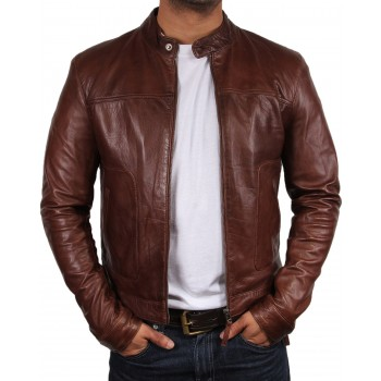 Men's Leather Biker Jacket - Zenith - Brown, Black