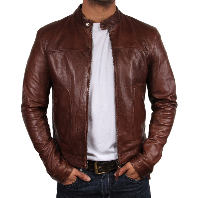 Brown leather biker jackets