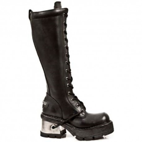 New Rock Black Leather Biker Gothic Stylish Look Boots - M236-S1