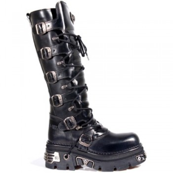 New Rock Unisex Black Metallic Gothic Biker Boots - M272-S1