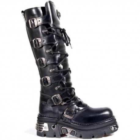 New Rock Unisex Black Metallic Gothic Biker Boots - M272-S1