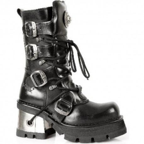 New Rock Black Leather Biker Unisex Gothic Metallic Boots - M.373.S3